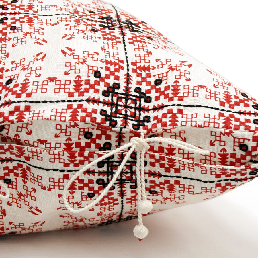 Isayu Grid Cushion Cover Red