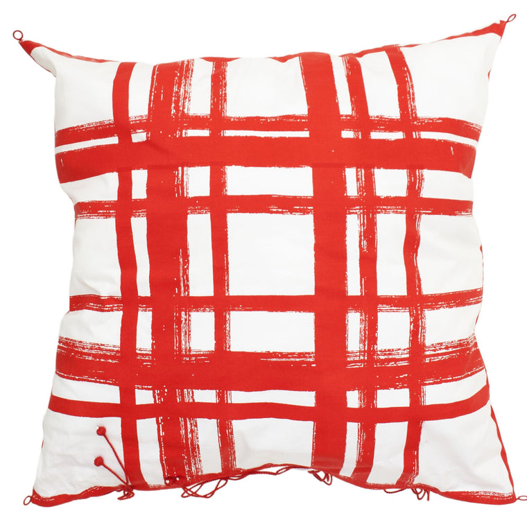Chowkad Tartan Cushion Cover Red