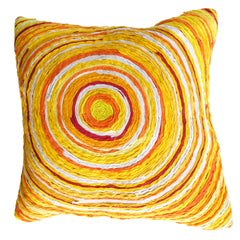 The Katran round pattern cushion cover yellow by Sahil & Sarthak