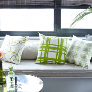 Chowkad Tartan Cushion Cover Green