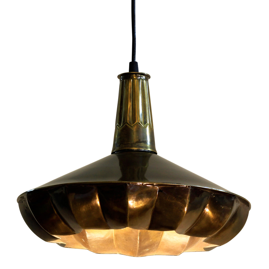 Pintuck Pendant Drop Lamp Brass