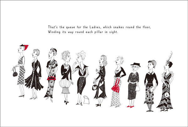 Queue for the Ladies signed print by Peawit Press, detail 1
