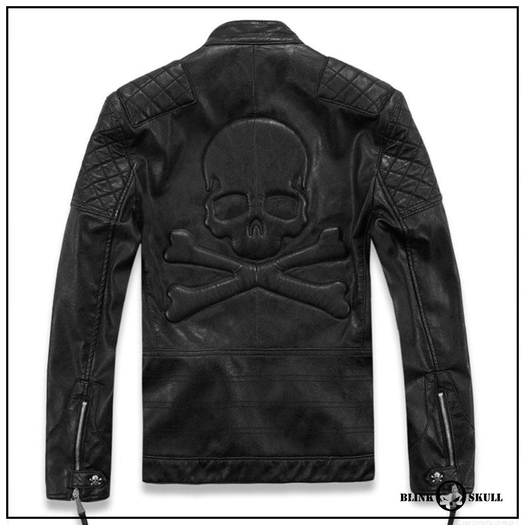 veste cuir homme skull rider blink skull. Black Bedroom Furniture Sets. Home Design Ideas