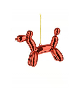 Party Balloon Dog Christmas Tree Bauble Red
