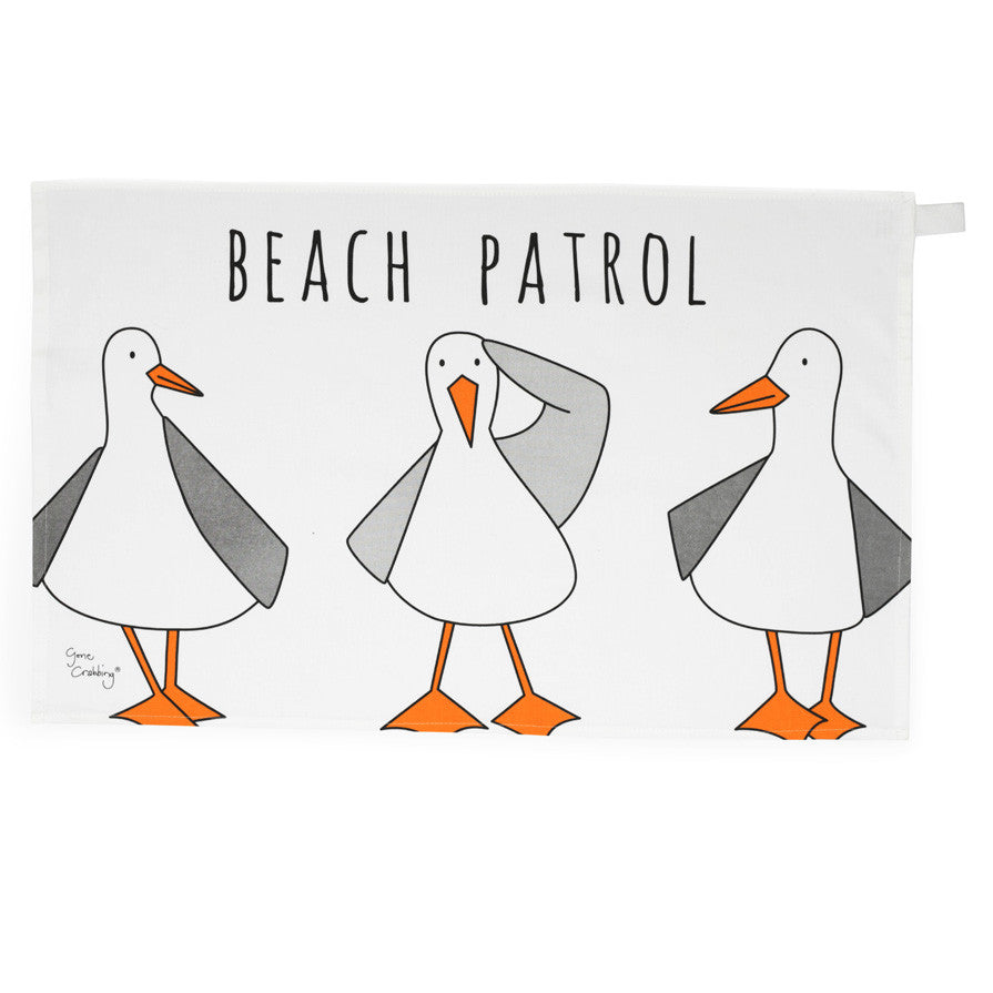 Gone Crabbing Tea Towel - Beach Patrol