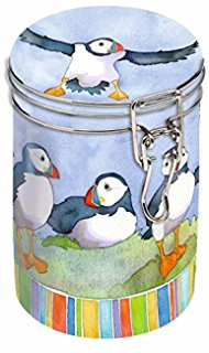 Emma Ball Puffins Round Clip-Top Tin