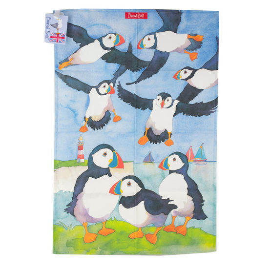 Emma Ball Puffins Tea Towel
