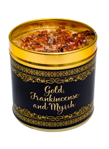 Christmas Scented Candle Tin - Gold, Frankincense & Myrrh