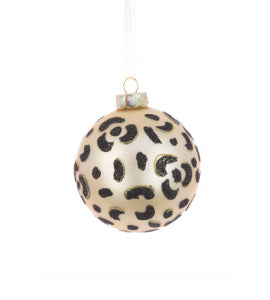Leopard Pattern Glass Bauble Tree Decoration