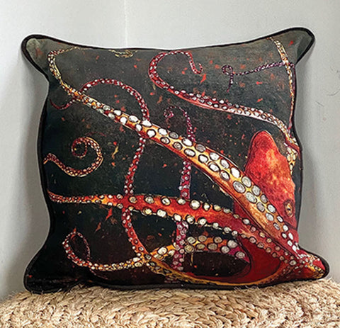 Red Octopus Cushion