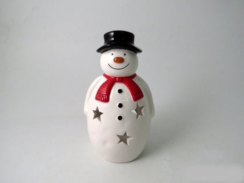 Jolly Snowman Ceramic Tealight Holder 16.5cm