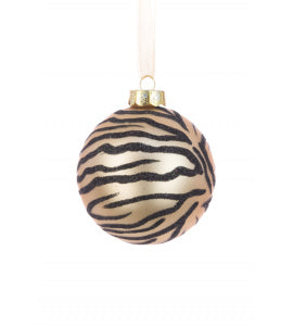 Tiger Pattern Glass Bauble Tree Decoration