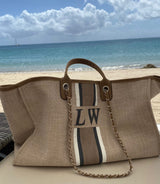 The Lily Canvas Weekend Jumbo Bag Soft Fawn with White, Grey and Beige Stripes as per on Photo