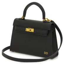 Load image into Gallery viewer, Lily and Bean Hettie Mini Bag - Black with Initials and Leather Strap