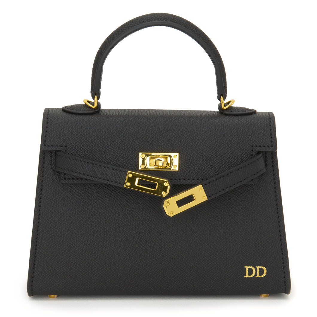 Lily and Bean Hettie Mini Bag - Black with Initials and Leather Strap