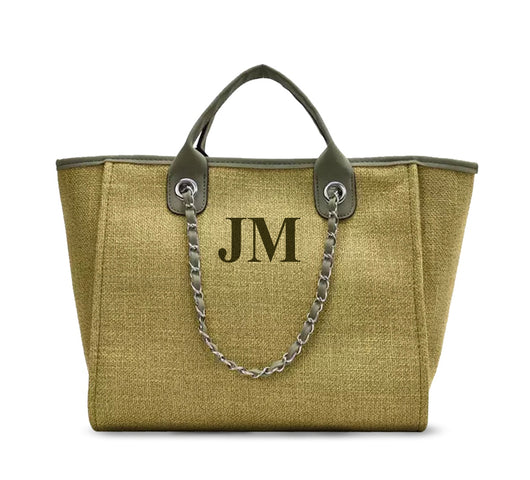 The Lily Canvas Tote bag Army Green with Matching Initials