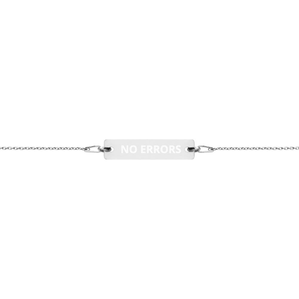 NE Engraved Silver Bar Chain Bracelet - No Errors Sports