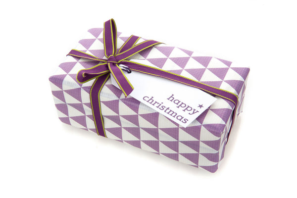 6 White Happy Christmas gift tags printed in purple