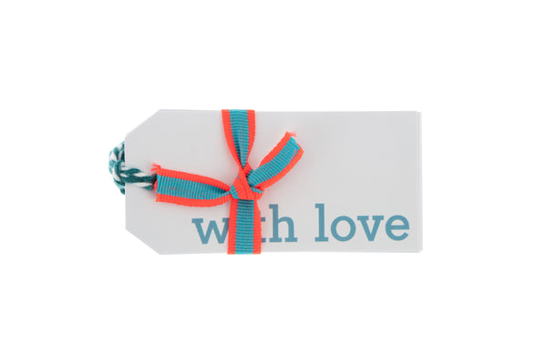 6 White 'With love' gift tags printed in blue