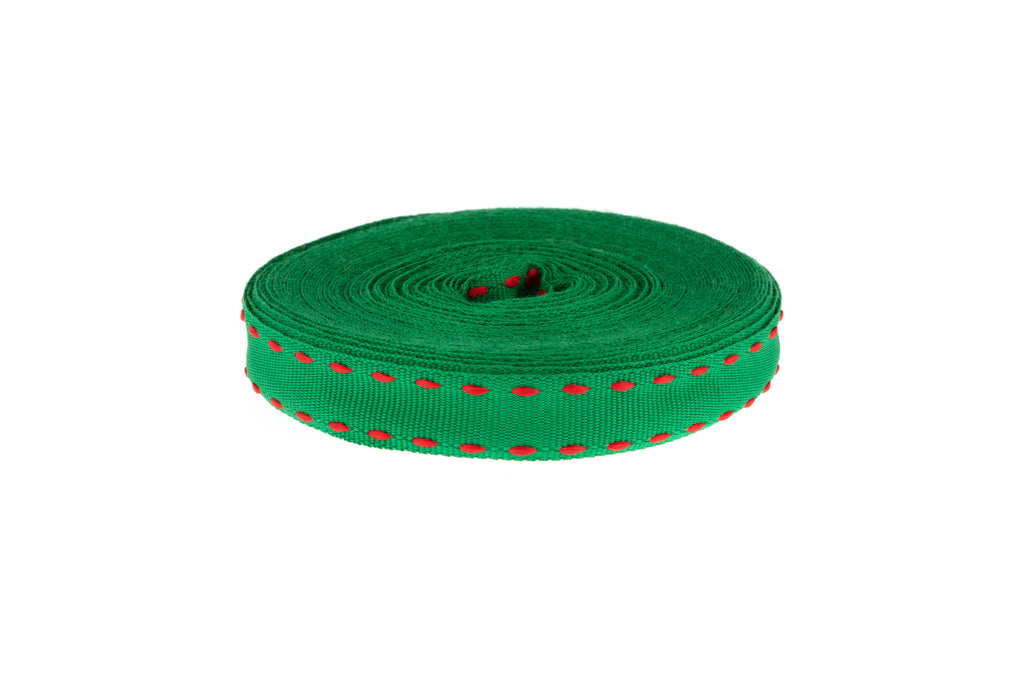 10m Roll Emerald Green Ribbon with Red Stitching