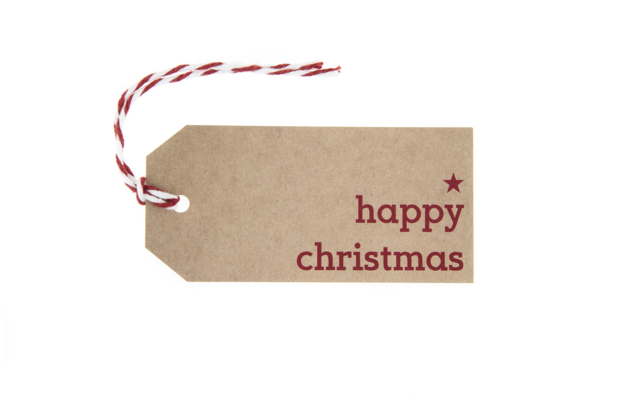 Christmas Gift Tags.6 Brown Happy Christmas Gift Tag Printed In Red