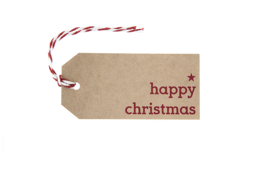 6 Brown Happy Christmas Gift Tag printed in Red