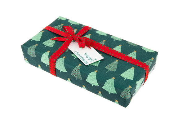 2m Roll Spruce Green Kraft Paper with Christmas Tree Design