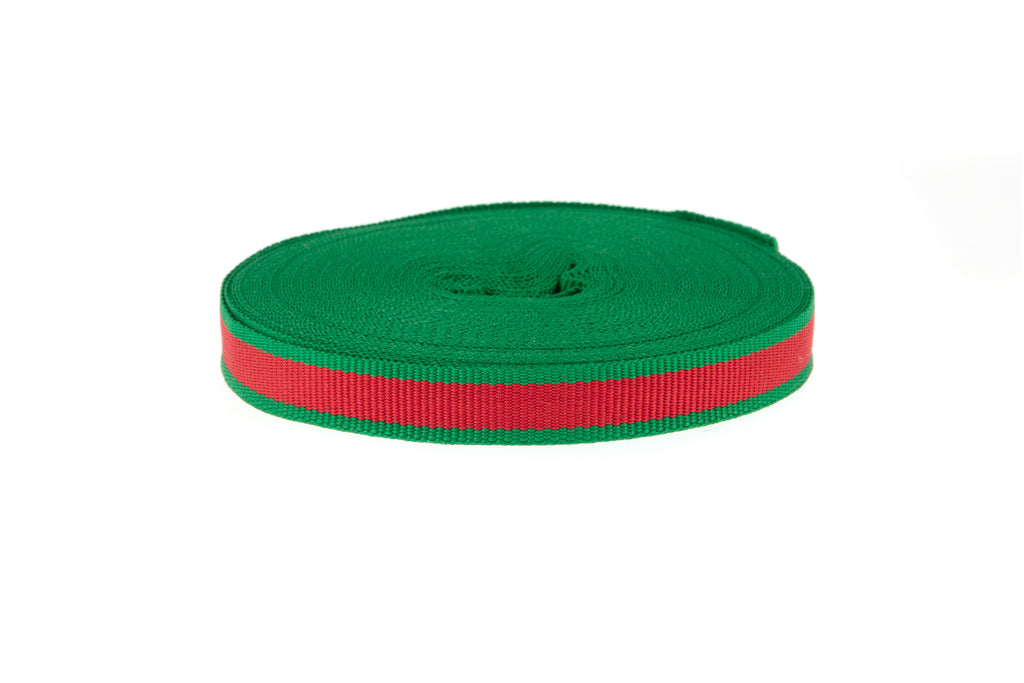 10m Red Ribbon with Emerald Green Edging