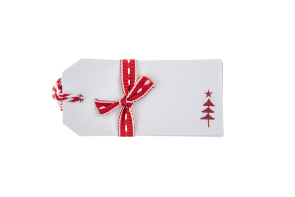 6 White Gift Tags with Red Christmas Tree Design