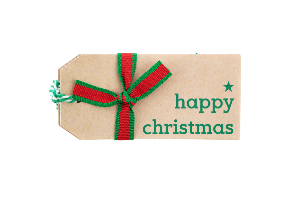 6 Brown Gift Tags with Happy Christmas Printed in Green