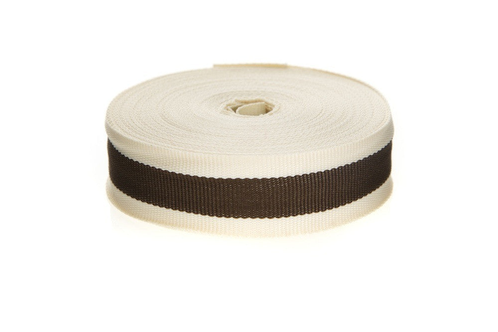 10m roll Cream & Chocolate Brown Striped Ribbon