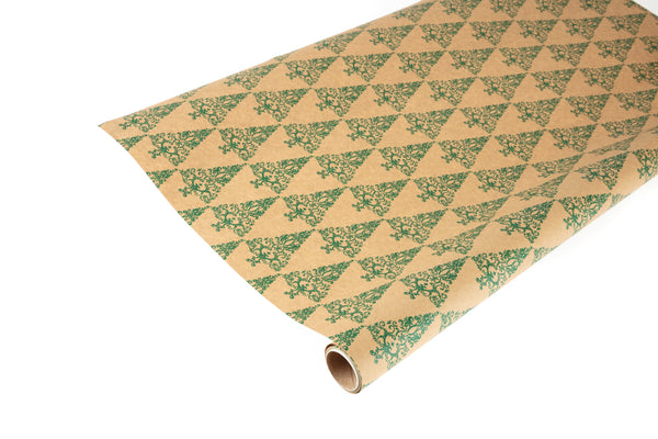 3M Roll Recyclable Brown Kraft Paper with Spruce Green Christmas Trees