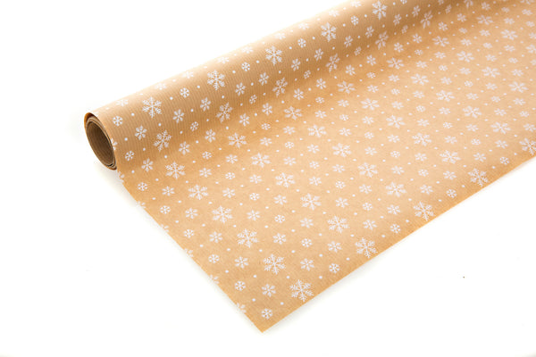 3m Brown Kraft Paper with White Snowflakes