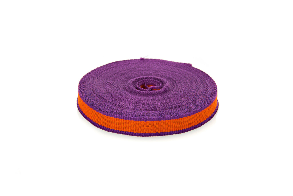 10m roll Orange Grosgrain Ribbon with Purple Edging