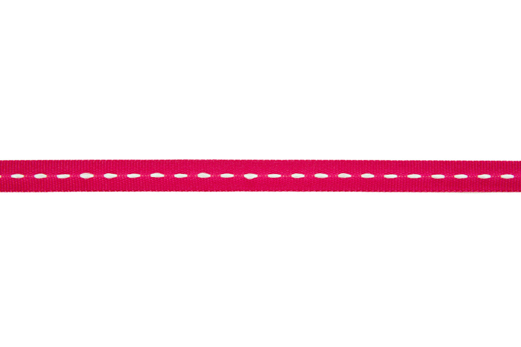 10m roll Pink Grosgrain Ribbon with White Stitching