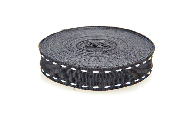 10m roll Charcoal Grosgrain Ribbon with White Stitching