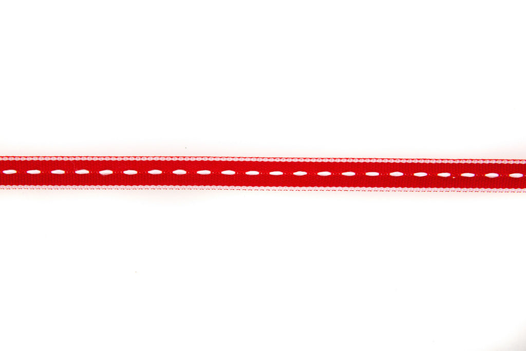10m roll Red Grosgrain Ribbon with White Stitching