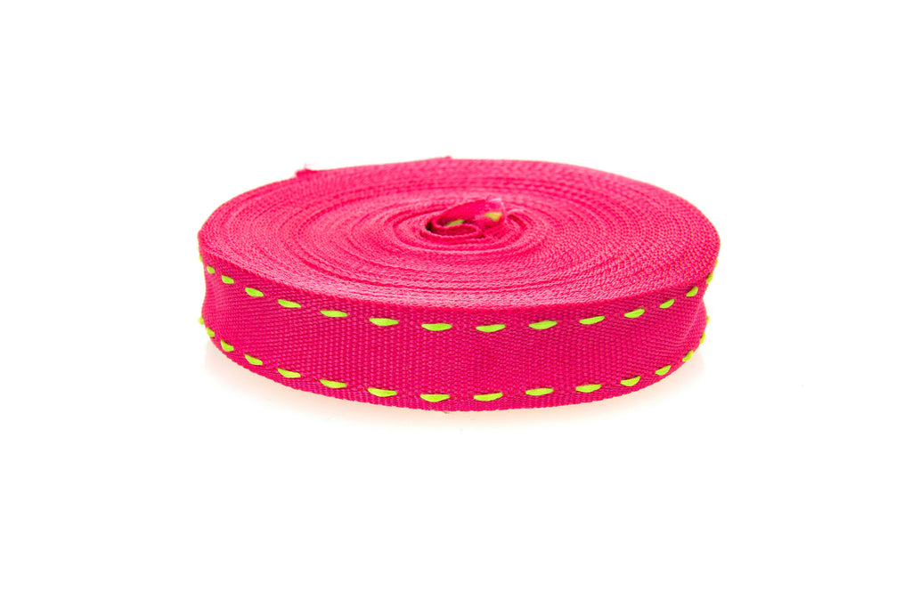 10m roll Pink Grosgrain Ribbon with Green Stitching