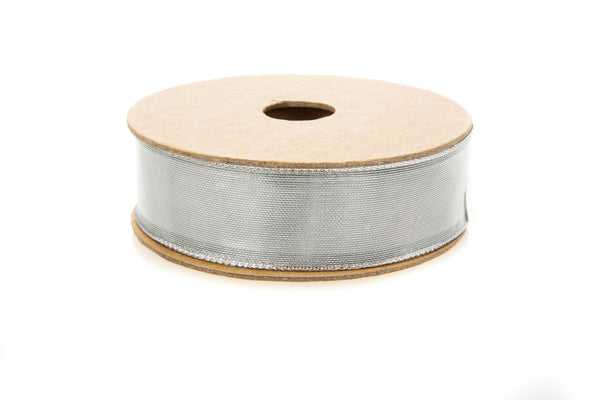 10m roll Wired Metallic Silver Ribbon