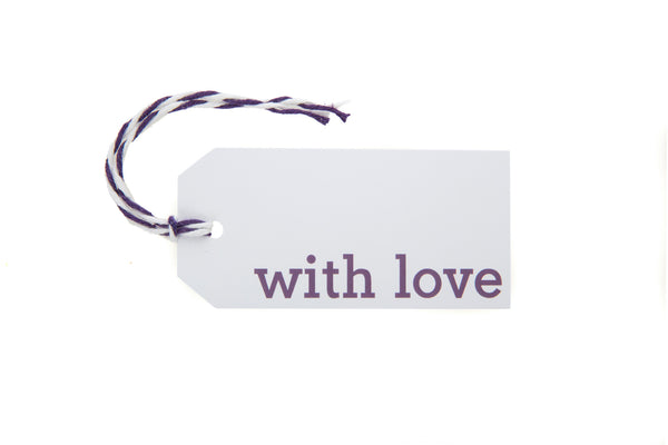 6 White With Love gift tags printed in purple