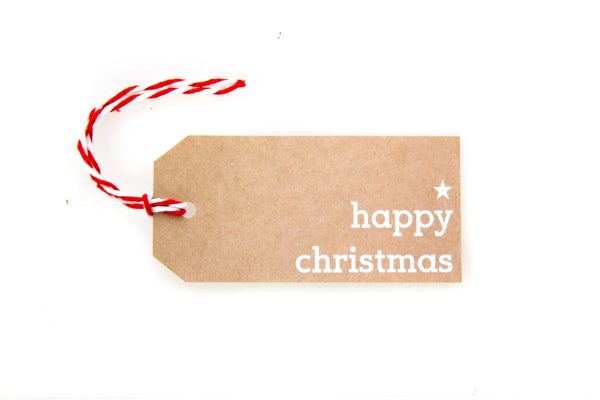 6 Brown Happy Christmas gift tags printed in white