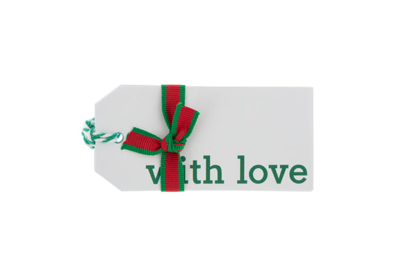 6 White Gift Tags 'with love' in Mint Green