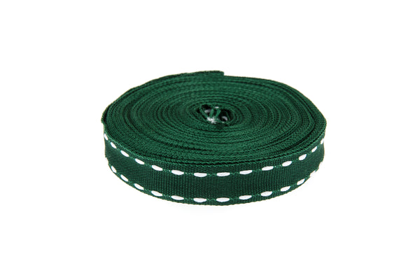 10m roll Bottle Green Grosgrain Ribbon with White Stitching