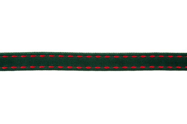 10m roll Bottle Green Grosgrain Ribbon with Red Stitching