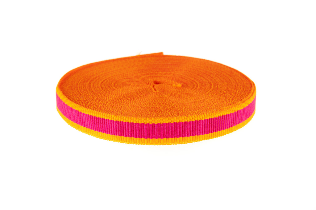 10m Roll Bright Pink Ribbon with Orange Edging