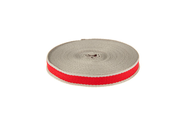 10m roll Red Grosgrain Ribbon with Grey Edging