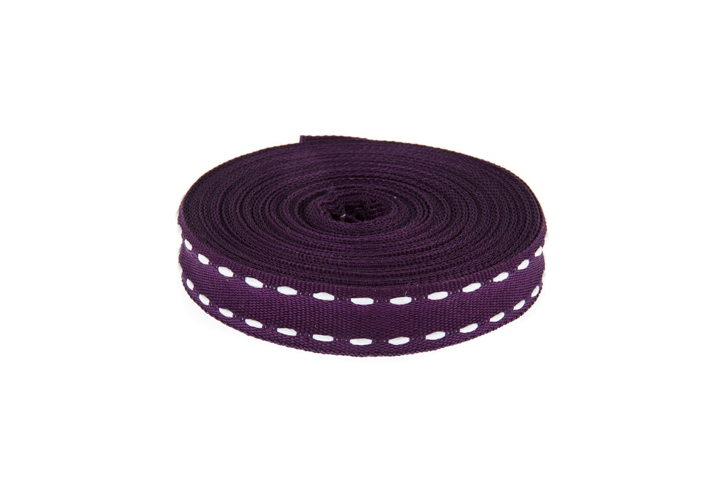 10m roll Deep Purple Grosgrain Ribbon with White Stitching