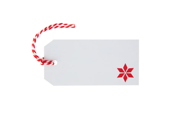 6 White Red Star Design Gift Tags
