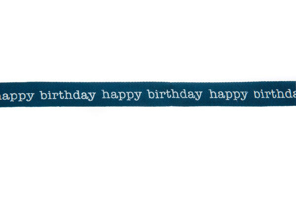 10m roll Teal Coloured Ribbon Printed with White Happy Birthday