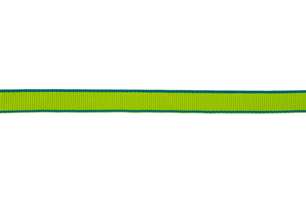 10m Roll Lime Green Ribbon With Turquoise Edging
